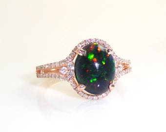 1.04 Carat Natural Black Ethiopian Opal Ring With Diamond Halo In 14k Rose Gold (144525)