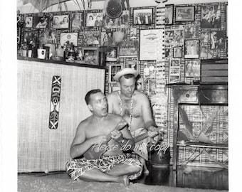 Crazy Hawaiian themed Party ~ Vintage Snapshot Photo