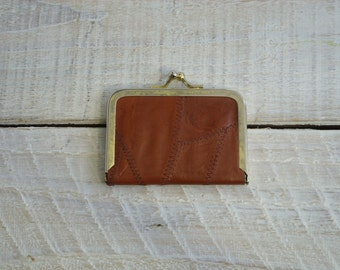 Vintage Travel Sewing Kit ~ Small Patchwork Leather Case (A1)