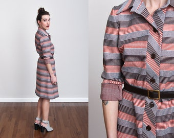 1970s Orange, Brown and Grey Striped Button Down Shift Dress - S/M - Retro - Mod - English - Disco