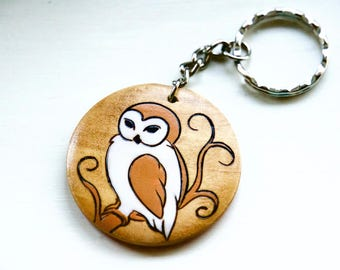 Owl Keyring Barn Owl Gifts Art Rustic Natural Wood Burned & Hand Painted Unique Key Chain