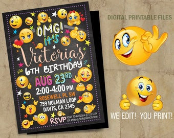 Emoji Emoticon Birthday Party Invitation, Emoji Birthday invitation, Emoji Emoticons,  Emoji Emoticon party, Birthday Emoticon