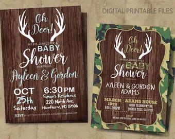 Oh Deer Baby Shower Invitation, Deer Baby Shower Invitation, Camouflage Baby Shower Invitation, Boy / Girl Baby Shower Invitation