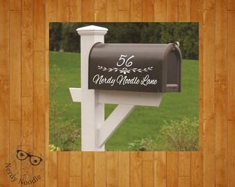 Flower Mailbox Decal, Vine Mailbox Decal, Custom Mailbox Decal, Address Decal, Mailbox Numbers, Mailbox Monogram, Mailbox Stickers