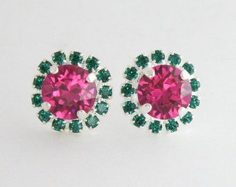 Bridesmaid earrings,wedding jewelry,pink and green earrings,emerald earrings,fuchsia earrings,swarovski,swarovski earrings,halo earrings