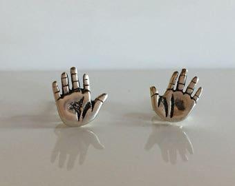 Vintage Sterling Silver Hand Earrings