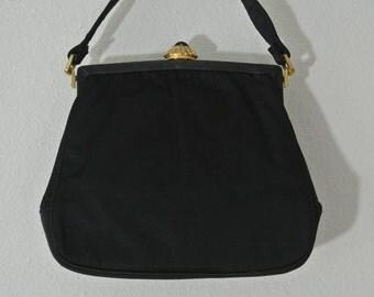 Rosenfeld Black Retro Clutch Mod Satin Handbag Ornate Stone Clasp