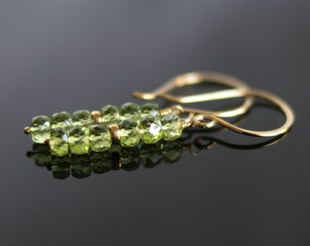 Peridot drop earrings, peridot jewelry, 14k gold fill ear wires, earrings of peridot, peridot jewelry gift for her, August birthstone gift