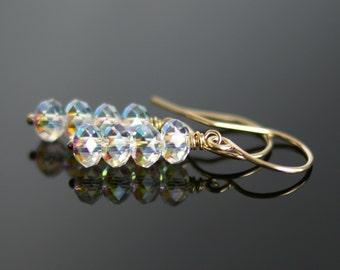 Swarovski Aurora Borealis crystal drop earrings, sparkley earrings, Swarovski jewelry gift for her, bridal earrings, 14k gold fill ear wires