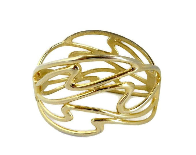 Vintage Abstract Clamper Bracelet, Gold Tone Hinged Cuff Modernist Design, Valentine's Day Gift
