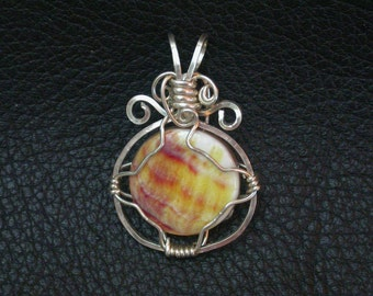 Yellow and Purple Spiny Oyster Shell Sun Pendant with Sterling Frame and wire-wrap