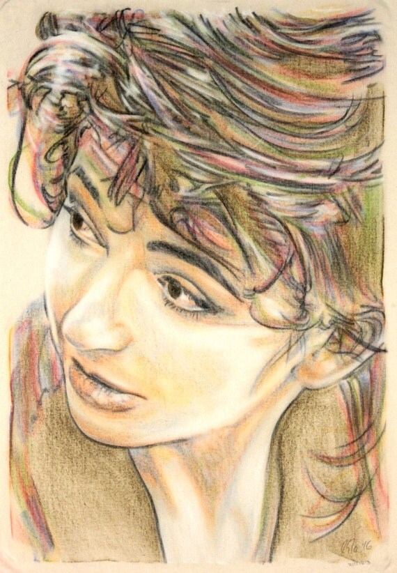 Original hand drawn portrait of Kate Bush, in charcoal and pastel on calico