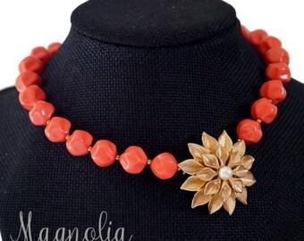 Vintage Germany glass choker necklace with Dahlia enhancer
