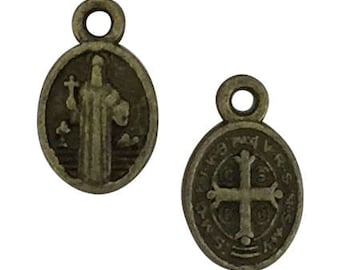 15 Bronze St Benedict Medal Charm 13x8mm by TIJC SP1581