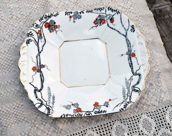 Vintage MELBA BONE CHINA Guaranteed Made in England Period 1948-51 Black Transfer and Red Flowers Decor Cake Plate Retro Wedding Tableware