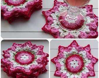 Crochet petal flower coasters, doily, colours pink,fuchsia, white and green, set of four.