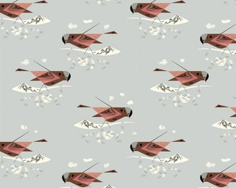 Gray Crowned Rosy Finch (Organic Poplin Fabric) by Charley Harper from the Western Birds collection for Birch Fabrics