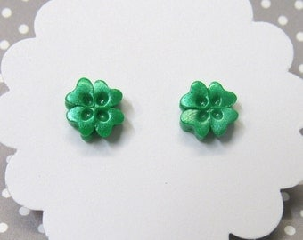 Green Clover Earrings, Shamrock Stud Earrings, St. Patricks Day Jewelry, Gift for Her, Four Leaf Clovers