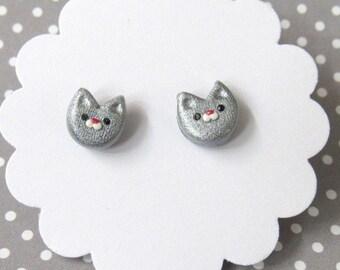 Silver Gray Cat Earrings, Cute Earrings, Cat Earrings, Stud Earrings, Nickel Free Hypoallergenic Posts, Gift for Her