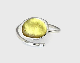 Adjustable Yellow Sea Glass Ring, Sterling Silver Jewelry, English Beach Glass Jewelry, American Ring Size 9