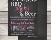 Baby Q BBQ Babyque coed Baby Shower Invitation, BBQ Babies and Beer, printable digital files