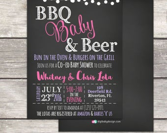 baby q bbq babyque coed baby shower invitation bbq babies and beer printable digital