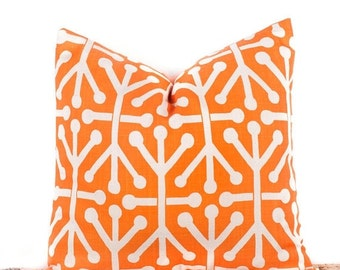 SALE ENDS SOON Geometric Patterned Orange Toss Pillow, Custom Throw Pillow, Diy Home Decor, 16 x 16