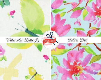 WATERCOLOR BUTTERFLY FLORAL Fabric Bundle Fabric by the Yard Fat Quarter Butterflies Trees Fabric 100% Cotton Quilting Fabric Apparel Fabric