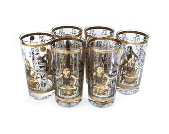 Culver Highball Glasses Vintage Barware 1960s Egyptian Excellent Condition 22 kt Gold Six