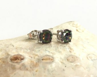 Mystic quartz sterling silver stud earrings