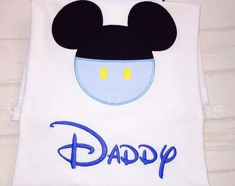 Baby Mickey Mouse Face Pants Adult Applique Shirt