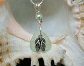 Sea Mist Green Sea Glass Necklace with Flip Flops