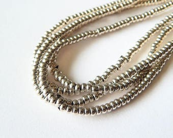 4mm Silver Rondelle Spacer beads
