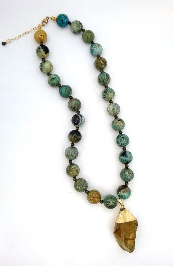 African Blue Opal Necklace, Opal Necklace, Turquoise Necklace