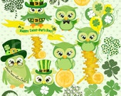 St Pat's Day Owls Clipart, St Patricks Day Clipart, Owls Clipart,  Irish Clip Art, Shamrock Clipart, Banner Clipart, AMB-825
