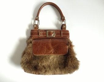 Faux-Fur Leather Bag. Tan Leather Faux Fur Bag. Tan Leather Bag. Tan Leather Handbag. Fake Fur Bag. Brown Leather Bag. Small Brown Handbag