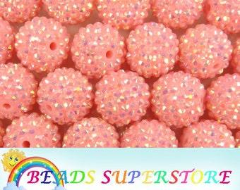 SALE 20 mm Deep Pink AB Rhinestone Chunky Bubblegum Round Bead - Gumball Bead - Acrylic Chunky Bead - 10 pcs (CHR11)