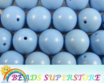 SALE 20 mm Cornflower Blue Solid Chunky Bubblegum Round Bead - Gumball Bead - Acrylic Chunky Bead - 10 pcs (CHS47)