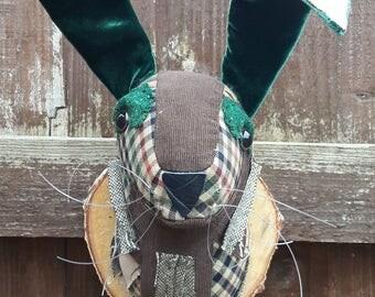 Faux Taxidermy Hare Animal Head Rabbit Trophy Head Wall Room Decor Handmade Unique  Gift