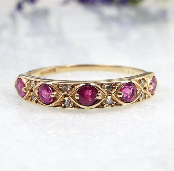 Vintage 9ct Yellow Gold Art Deco Style Pink Ruby and Diamond Band Ring / Size P