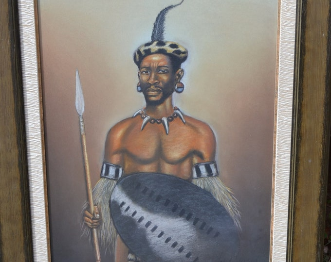 Vintage Pastel Drawing South African Man Tribal Dress Signed Mack Mojapolo Framed African Art Panchosporch