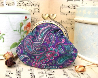 Coin purse clutch in purple with paisleys