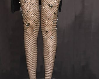 Fishnet tights,fishnet stockings,Handmade embroidery, crystal, stockings with rhinestones, hot brick, hollowed-out