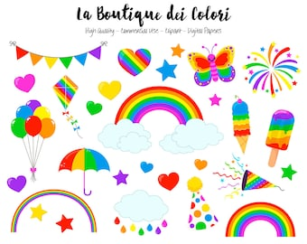 Rainbow Clipart, Cute Graphics PNG, Colorful Rainbow Party Clip art, Spring rain Scrapbook Illustrations for Commercial Use