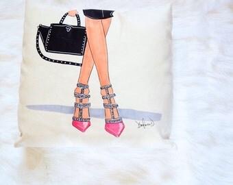 Girl boss pillow, Teen decorative pillows, Girly home decor, Illustrated pillow, Illustration pillow, Girly pillow, Fashion pillow cover