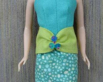 One-of-a-Kind Turquoise 3-Piece Top and Skirt Set for Barbie