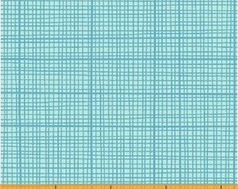 Half Yard Color and Count - Grid in Turquoise Blue - Cotton Quilt Fabric - Jill McDonald for Windham Fabrics - 40676-10 (W3641)