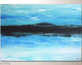 """Acrylic Painting Blue Black White: """"Pure feeling"""" 39x28"""". Puristic Minimalist Painting. Textured Abstract Landsacape, Seaside, Ocean, Water"""