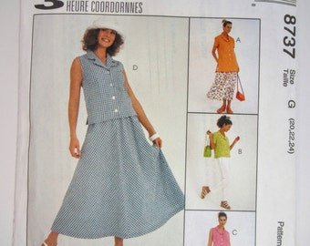 McCall's 8737 Misses Top Pants & Skirt Sewing Pattern Sizes 20 - 24 Uncut