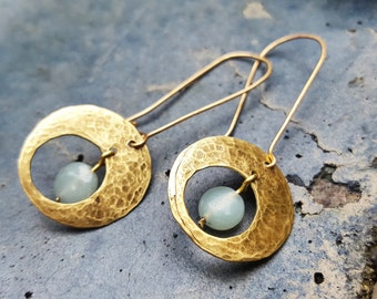 Hand Forged Brass  Earrings | Upcycled | Amazonite | Dangle  Earrings
